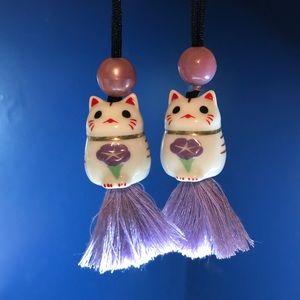 Maneki Neko Necklace on long cord